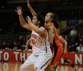 Bridget Schuneman earned All-American honors this season.  She is pictured here vs Union (KY) in the NAIA opening round win.