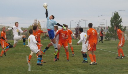 Steve Harris knocks away a corner kick in the Jimmies� 1-0 overtime win over UGF Saturday