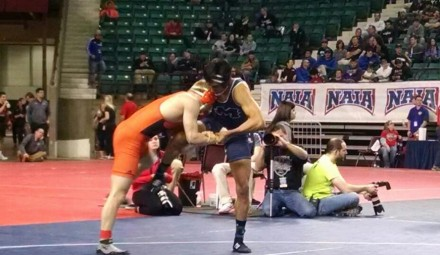 Michael Nord competes at the NAIA National Wrestling tournament