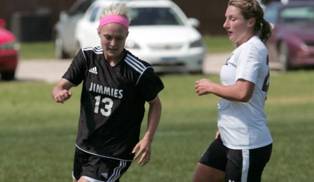 Amber Hillesland (13) gains control of the ball during Saturday's game
