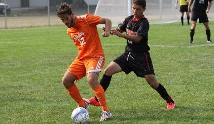 Jacob Scotte-Hatherly fends off a Doane attacker Friday
