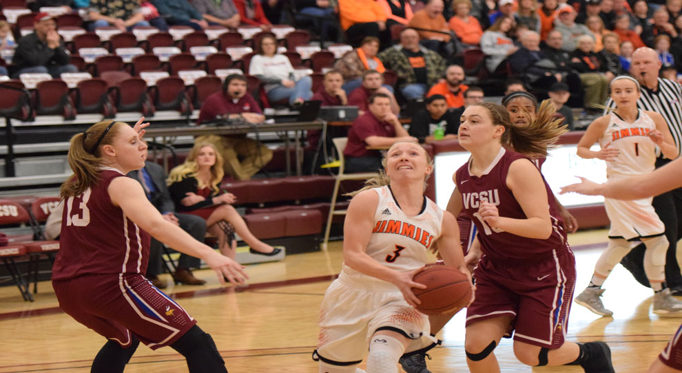 Bryn Woodside drives to the basket Saturday (photo courtesy of VCSU sports information)