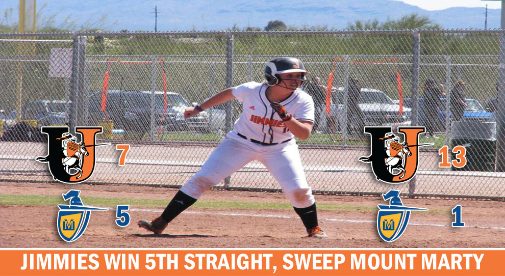 Photo for Jimmies run win streak to five with sweep of Mount Marty