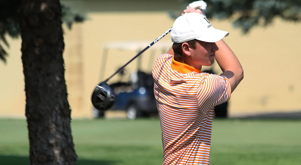 Austin Rene watches a drive during Monday's UJ Fall Kickoff at Jamestown Country Club
