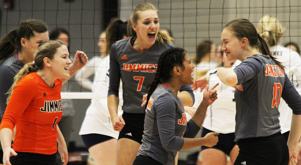 University of Jamestown Athletics - Jimmies open pool play with 5