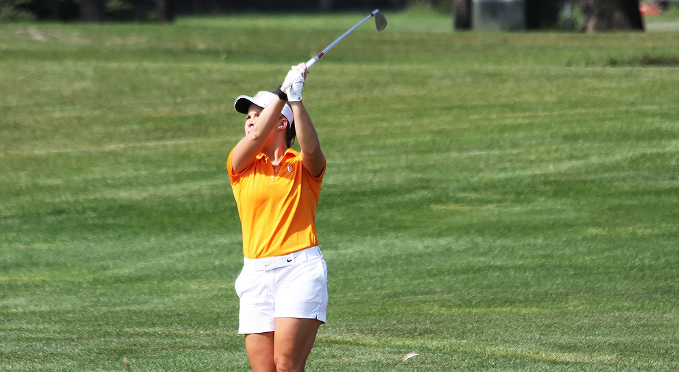 Emma Thompson follows through on an iron shot during the UJ Fall Kickoff on Monday