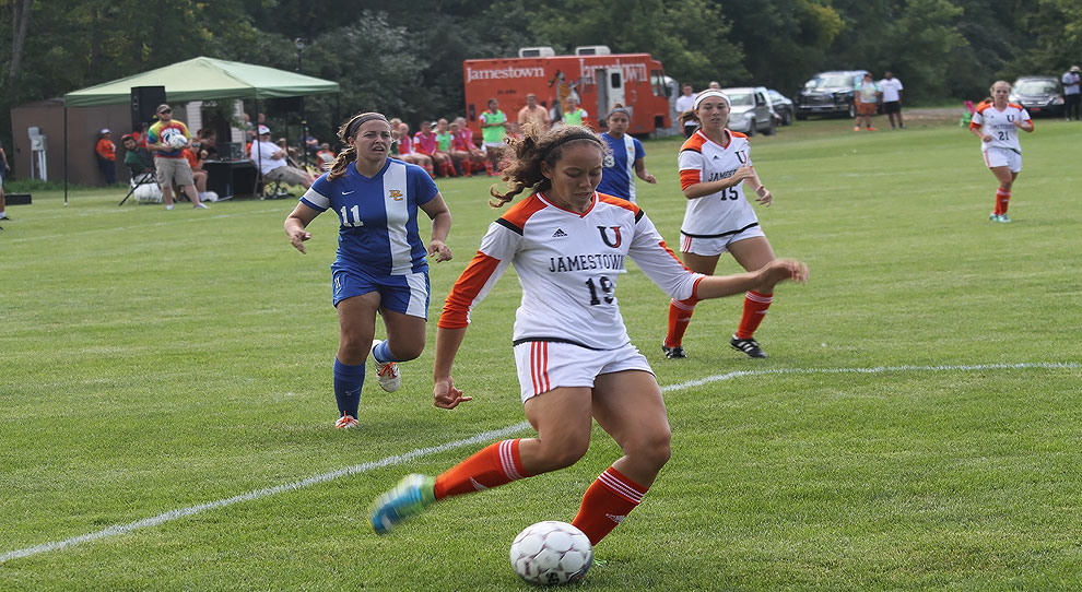 Lateasha Huges was one of three goal scorers for Jamestown Saturday